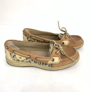 SPERRY Top Sider shoes. Tan and cheetah. Size 6.5